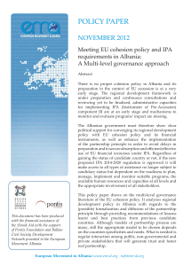 Photo- Policy Paper- Meeting EU COhesion policy and IPA requirements- Nov 2012