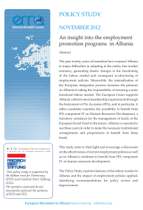 Photo-Policy Study- An insight into the employment promotion programs in Albania- Nov 2012